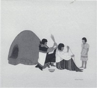 untitled (three figures near oven) by gilbert atencio