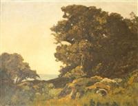 les chênes vert, la mer, ile de noirmoutier by louis alexandre cabié