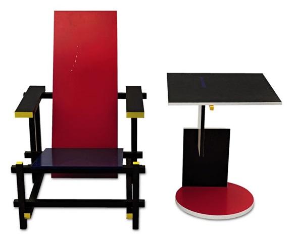 Rietveld stuhl zeichnung  Rot-Blau-Stuhl Red and Blue ChairBeistelltisch Schroeder 1 von ...