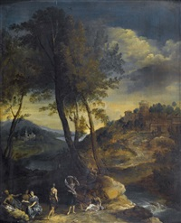 idyllische flusslandschaft mit staffage by nicolas poussin