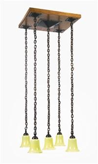 five-light chandelier, model no. 592 by gustav stickley