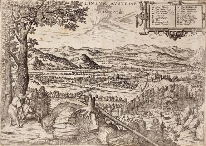 ansicht von linz (from civitates orbis terrarum) by lucas van valkenborch