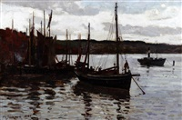 fishing boats in staithes harbour by frederick william jackson