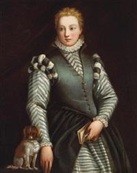 bildnis eines mädchens mit einem hündchen (ritratto di giovinetta con un cagnolino) by benedetto caliari