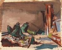 hamburger hafen (+ sketch, verso) by hans hubertus von merveldt