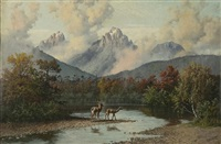 mountain landscape with deer by william baptiste baird