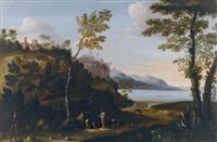 a wooded landscape with peasants resting on a track, a lake beyond by jan miel