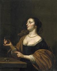 bildnis einer elgeganten dame, in der rechten einen spiegel haltend. auf dem tische ihr kostbarer perlenschmuck by eglon hendrik van der neer