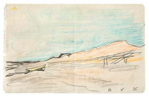 ohne titel boot am strand from sketchbk by lyonel feininger