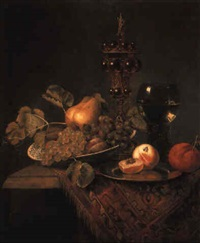 a bowl of fruit, peaches on a pewter plate, a roemer and a covered chalice by pieter van den bos