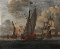 dutch sailing vessels in a calm by abraham jansz storck