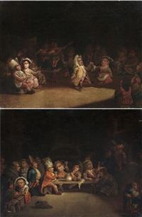 banchetto di nani e festa con ballo di nani (pair) by enrico albricci