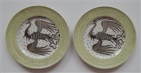 ceramic plates decorated with phoenix birds (pair) by waylande gregory