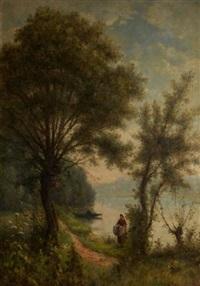 sur la rive du fleuve by charles félix edouard deshayes