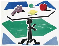 apples, grapes and lemon on a table (from brooklyn academy of music artists print portfolio) by david hockney