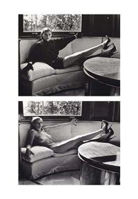 sylvia reclining nude inside the house et sylvia reclining dressed inside the house, brescia, italy (2 works) by helmut newton
