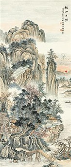 秋山夕照 (landscape) by ma dai