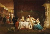 anna boleyn überredet könig heinrich viii. zur entlassung des kardinals wolsey by emanuel gottlieb leutze