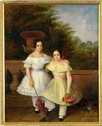 portrait of two young girls by samuel f.b. morse