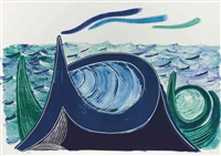 the wave, a lithograph by david hockney