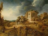 ruinen und eine brücke in einer hügeligen landschaft by johann spilberg the younger
