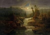 romantische gebirgslandschaft mit wildbach bei vollmond by fritz chwala