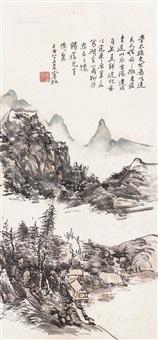 湖山幽居 镜框 设色纸本 ( landscape) by huang binhong