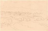 italienische landschaft mit gebirgszug (recto) - junge römerin einen korb auf dem kopf tragend (verso) by heinrich gärtner