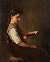 halbportrait eines sitzenden, lesenden mädchens by german school-southern (19)