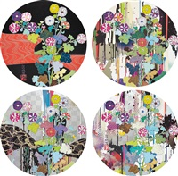 kansei kõrin red stream; i recall the time when my feet lifted off the ground, every so slightly - korin - chrysanthemum; kansei: like the river's flow; and kansei: abstraction and 2010 (4 works) by takashi murakami