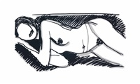 monica lying in scribbles by tom wesselmann