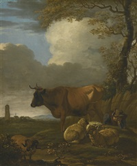 landscape with a cow, sheep and a resting shepherd by stacks of corn, a church beyond by jan le ducq