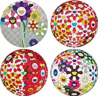 flowerball brown; flowerball - goldfish colors (3d); flowerball red (3d) the magic flute; and purple flowers in a bouquet; 2008; 2009 and 2010 (4 works) by takashi murakami
