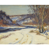 winter forest with stream by manly edward macdonald