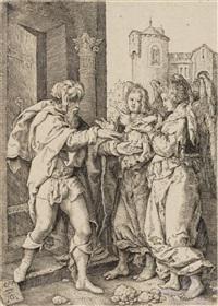 lot begrüßt die engel (from die geschichte von lot) by heinrich aldegrever