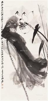 雨过荷塘 立轴 水墨纸本 ( ink lotus) by zhang daqian