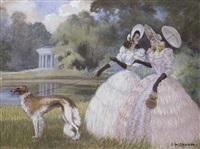 élégantes et lévrier dans la parc by gaston lebeuze