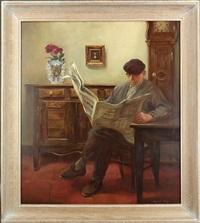 vieil homme lisant son journal by marcel gillis