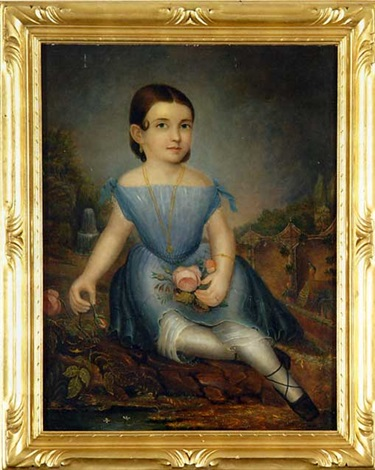 portrait of a small child with pink rose by daniel f ames