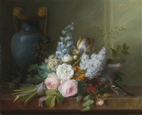 a bouquet of flowers with a bird's nest by cornelis van spaendonck