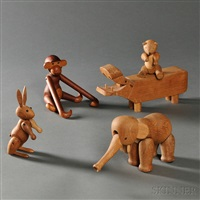 articulated animal figures (5 works) by kay bojesen