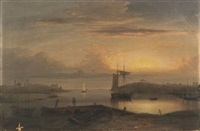 manchester harbor by fitz henry lane