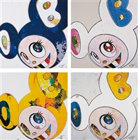 and then x 6 (marine blue: the superflat method); and then x 6 (white: the superflat method, pink and blue ears); and then, and then and then and then and then. yellow universe; and and then x g (white: the superflat method, blue and yellow ears) (4 works) by takashi murakami