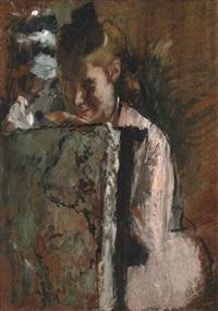 jeune fille assise appuyée au dossier d'un fauteuil by edgar degas
