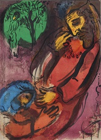 david et absalon - jérémie. 2 blatt (from la bible i) by marc chagall