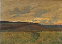 hügelige landschaft bei sonnenuntergang by d. ackermann