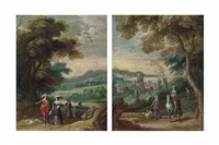 a wooded landscape with an elegant company on a track and a wooded landscape with a hunting party, a fortified town beyond (pair) by jan wildens