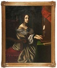 die heilige cäcilie beim orgelspiel by carlo dolci