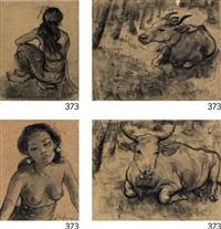 study of ni pollok sitting (ii) portrait of ni pollok (iii) sketch of a cow (iv) sketch of a cow in the woods (in 4 parts) by adrien jean le mayeur de merprés