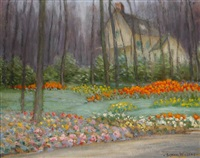 a flower garden at the edge of the woods by gustave adolph wiegand